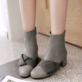 Ericdress Patchwork Square Heel Ankle Boots