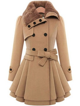 Ericdress Lace-Up Double-Breasted Coat