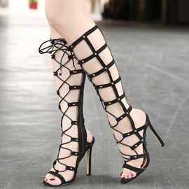 Ericdress Hollow Out Knee High Stiletto Sandals