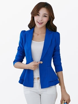 Ericdress Sweet One Button Falbala Blazer