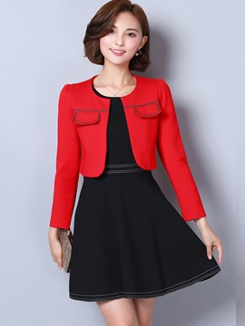 Ericdress Ladylike Color Block Two-Piece Leisure Suit