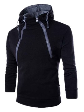 Ericdress Solid Color Multi-Zip Thicken Pullover Men's Hoodie