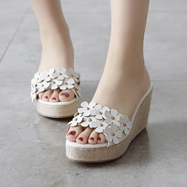 Ericdress Flower Petal Open Toe Wedge Mules Shoes
