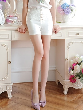 Ericdress Sweet Lace Patchwork Shorts
