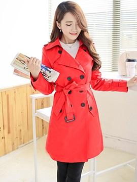 Ericdress Classical Double-Breasted Trench Coat