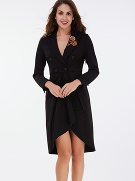 Ericdress Pleated Embroidery Slim Coat