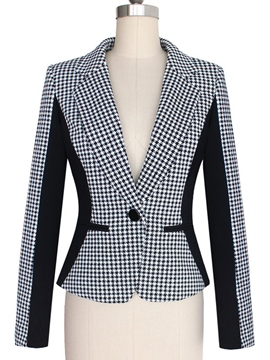 Ericdress Houndstooth One Button Blazer