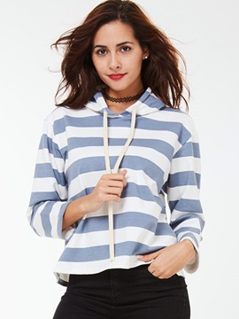 Ericdress Loose Color Block Stripped Hoodie