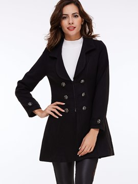 Black Shawl Collar Double-Breasted Temperament Coat
