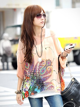 Ericdress Loose Printed Casual Floral Blouse