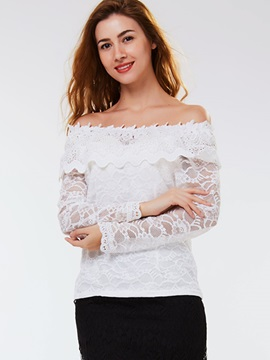 Ericdress Slash Neck Lace Panel Blouse