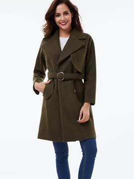 Ericdress Solid Color Belt Slim European Coat