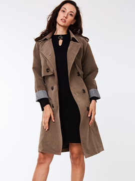 Ericdress Solid Color Slim Belt European Coat