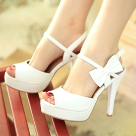 Inexpensive White Open Toe Bowknot Sandals