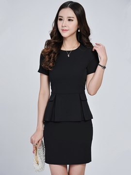 Ericdress Women's Elegant Short Sleeve Bodycon Skirt Suit