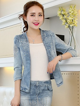 Ericdress Sweet Bead Denim Outerwear