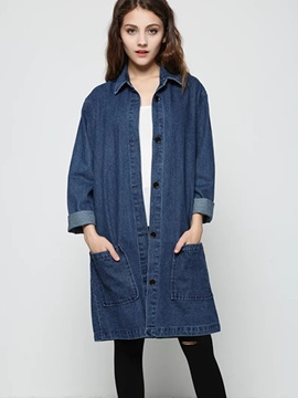 Ericdress Loose Solid Color Pocket Denim Outerwear