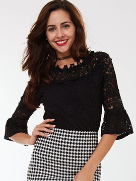 Ericdress Lace Overlay Three-Quarter Blouse
