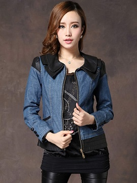 Ericdress Elegant PU Patchwork Denim Outerwear