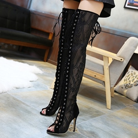 Ericdress Black Lace Cut Out Knee High Boots