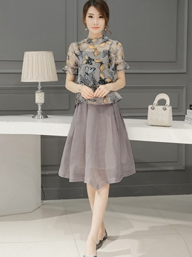 Ericdress Frill Print Blouse Suit