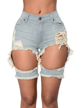 Ericdress Unique Hole Denim Shorts