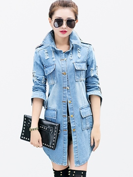 Ericdress Worn Single-Breasted Denim Outerwear