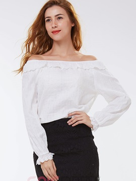 Ericdress White Slash Neck Blouse