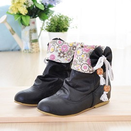 Ericdress Floral Print Ankle Boots with Bowknot