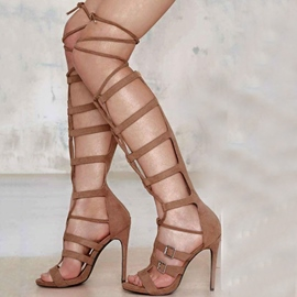 Ericdress Gladiator Buckle Zipper Knee High Stiletto Sandals