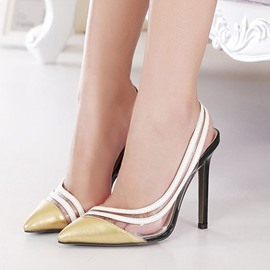 Ericdress European Patchwork Point Toe Stiletto Sandals