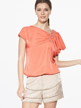 Sisjuly Loose Asymmetric Solid Color Blouse