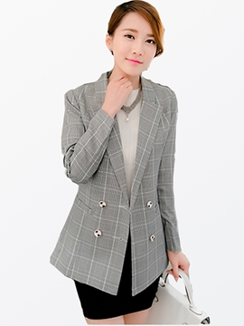 Ericdress Double-Breasted Plaid Blazer