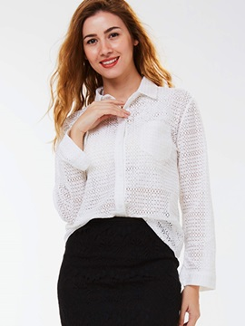 Ericdress White Hide Button Blouse