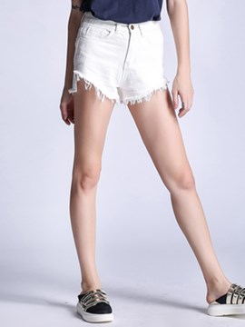 Ericdress Solid Color Raw Edges Shorts