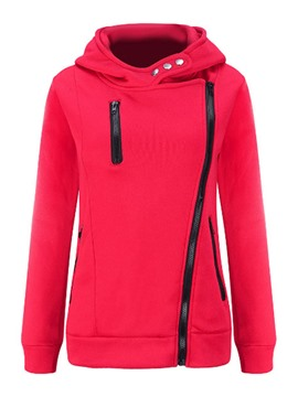 Ericdress Solid Color Zipper Cool Hoodie