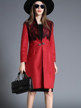 Ericdress Slim Lace Patchwork Elegant Trench Coat