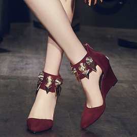 Ericdress Noble Rivets Point Toe Wedge Sandals