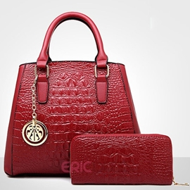 Ericdress Croco-Embossed PU Handbags(2 Bags)