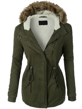 Ericdress Slim Army Green Lace-Up Coat