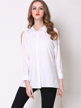Ericdress Solid Color Single-Breasted Off-Shoulder Blouse