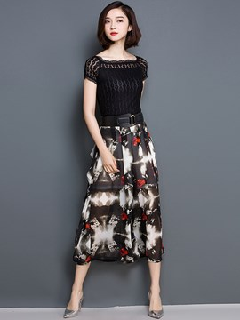 Ericdress Fashion Print Wide Legs Pants Leisure Suit
