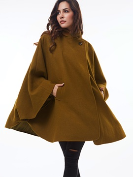 Ericdress Solid Color Stand Collar Batwing Cape