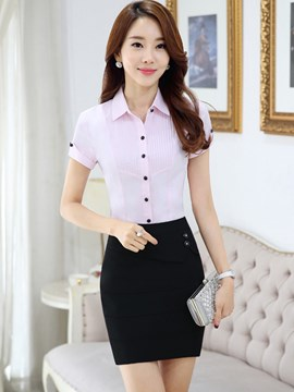 Ericdress OL Short Sleeve Blouse Suit