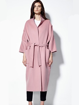 Ericdress Long Style Lace-Up Coat