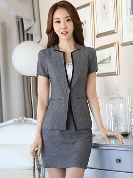 Ericdress Color Block V-Neck Slim Formal Suit