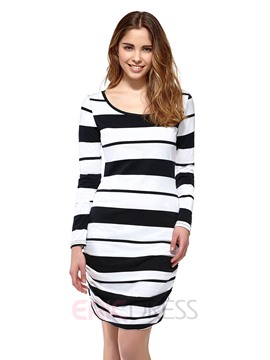 Ericdress Stripe Round Neck Pleated Bodycon Dress