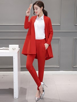 Ericdress Solid Color Blazer Two-Piece Suit
