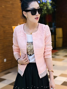 Ericdress Solid Color Lace Round Neck Blazer