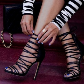 Ericdress Black cuts-out Stiletto Sandals